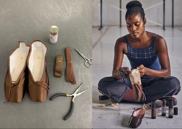 Silva ha compartido imágenes en Twitter de ella titando unas zapatillas de punta y del primer par que fabricado en un tono similar al suyo que ha podido usar.