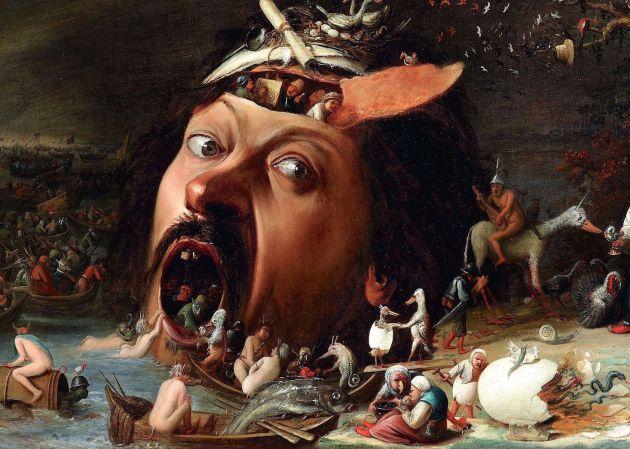 Detalle de Las tentaciones de San Antonio, de Joos Van Craesbeeck